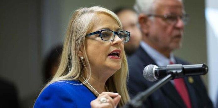 Wanda Vázquez habló en una conferencia de prensa para anunciar el esclarecimiento de 12 casos de asesinato. (tonito.zayas@gfrmedia.com)